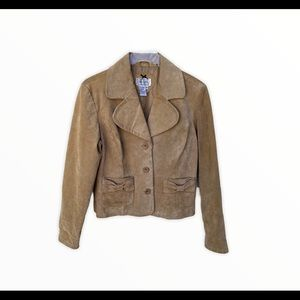 Live a Little Suede Leather Tan Zip Jacket *Flawed
